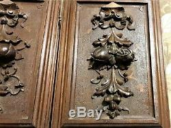 Pair bow fruit garland wood carving panel Antique french architectural salvage