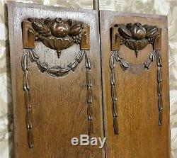 Pair bow garland fruit panel Antique french wood carving architectural salvage