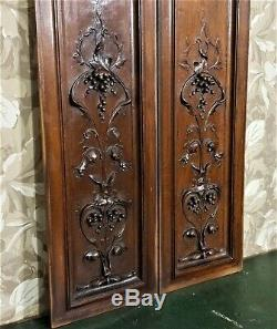 Pair bow grapes wine garland carving panel Antique french architectural salvage