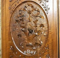 Pair bow ribbon flower basket carving panel Antique french architectural salvage