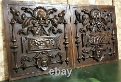 Pair bow ribbon picture wood carving panel Antique french architectural salvage