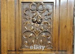 Pair bow scroll leaves panel Antique french wood carving architectural salvage