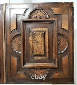 Pair decorative rosette wood carving panel Antique french architectural salvage