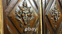 Pair devil demon decorative carving panel Antique french architectural salvage