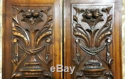 Pair drapery scroll leaf wood carving panel Antique french architectural salvage