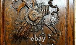 Pair farmhouse country trophy carving panel Antique french architectural salvage