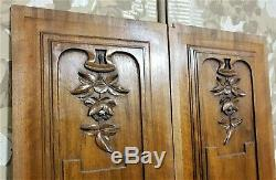 Pair flower garland carving panel Antique french walnut architectural salvage