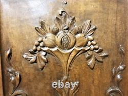 Pair fruit scroll leaves wood carving panel Antique french architectural salvage