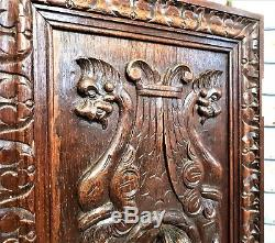 Pair gothic figure griffin architectural panel door Antique french oak carving