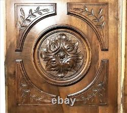 Pair gothic rosette wood carving panel Antique french architectural salvage