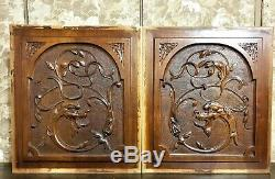 Pair griffin carving panel Antique french scroll leaves architectural salvage