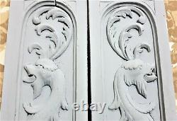 Pair griffin scroll leaf wood carving panel Antique french architectural salvage