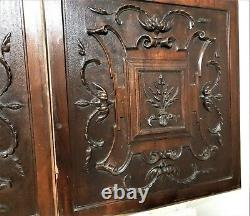 Pair horn scroll leaves wood carving panel Antique french architectural salvage
