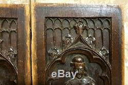 Pair medieval figure wood carving panel Antique french architectural salvage