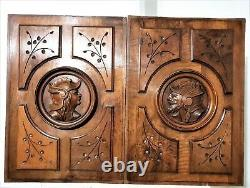Pair medieval warrior wood carving panel Antique french architectural salvage