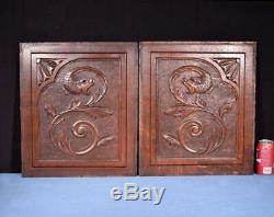 Pair of Antique French Carved Oak Wood Panels with Dragons/Griffins Salvage