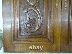Pair of Antique French Carved Wood Doors Wall Panels Solid Oak Scrolls