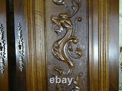 Pair of Antique French Carved Wood Doors Wall Panels Solid Walnut Griffin Dragon
