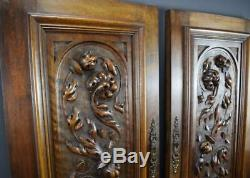 Pair of Antique French Hand Carved Solid Wood Cupboard Doors Wall Panels