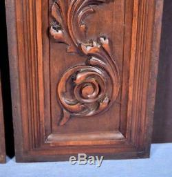 Pair of Antique French Highly Carved Panels in Solid Walnut Wood Salvage