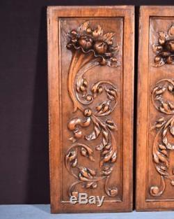 Pair of Antique French Highly Carved Panels in Walnut Wood Salvage