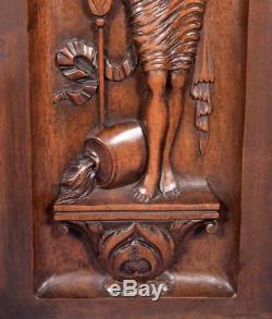 Pair of Antique French Highly Carved Panels in Walnut Wood Salvage with Women