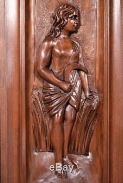 Pair of Antique French Highly Carved Panels in Walnut Wood Salvage withFigures