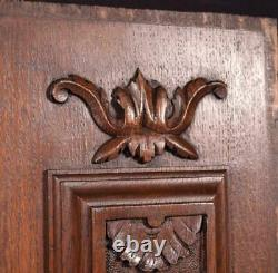Pair of Antique French Highly Carved Solid Oak Wood Panels Salvage