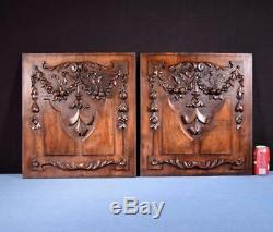Pair of Antique French Highly Carved Walnut Wood Panels Salvage