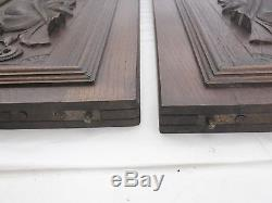 Pair of Antique French Wood of oak door panel carved chimera