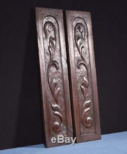 Pair of Antique Solid Chestnut Wood Panels Hand Carved Salvage