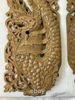 Pair of Chinese Oriental Carved Wooden Dragons Door Wall Panels 22 3/4 58 cm