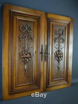 Pair of French Antique Hand Carved Walnut Wood Panel Cabinet Closet Door