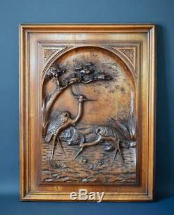Pair of French Black Forest Hand Carved Walnut Wood Panels of Birds Crane