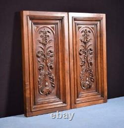 Pair of French Hand Carved Framed Panels in Solid Walnut Wood Salvage
