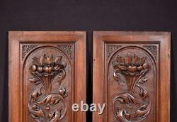 Pair of French Hand Carved Panels in Solid Walnut Wood Salvage