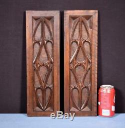 Pair of Gothic Carved Architectural Panel/Trim in Solid Walnut Wood Salvage
