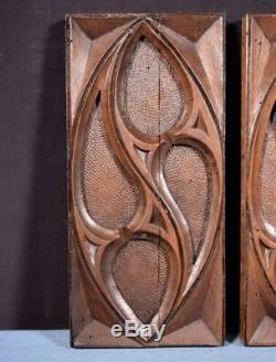Pair of Gothic Carved Architectural Panels/Trim in Solid Walnut Wood Salvage
