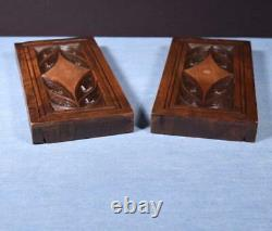 Pair of Gothic Carved Architectural Panels in Solid Walnut Wood Salvage