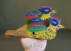 Pair of Rare Korean Folk Puppet Figure Wooden Polychrome Panel Birds Ca. 1920's