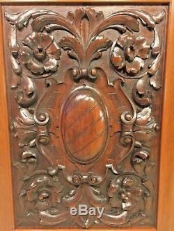 Pair of Renaissance Carved Wood Panels Walnut Wood Carvings of Scrolls, Flowers