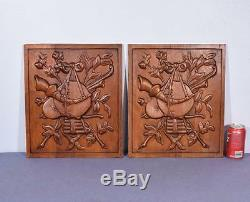 Pair of Vintage French Carved Solid Oak Panels Arts Themed with Instruments 1