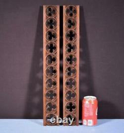 Pair of Vintage Gothic Carved Architectural Panels/Trim in Solid Oak Wood