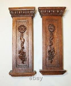 Pair of antique hand carved wood oak architectural salvage wall sculpture panels