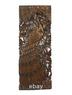 Pair of carved teak wall panels, Peacock design, each 90cm x 35cm, PK02 Thailand