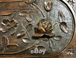 Pair rose flower rosette wood carving panel Antique french architectural salvage