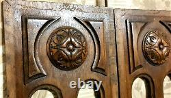 Pair rosette pierced wood carving panel antique french architectural salvage