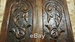 Pair scroll leaf wood carving panel Antique french oak architectural salvage
