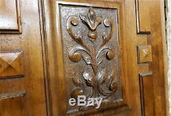 Pair scroll leaf wood carving panel Antique french walnut architectural salvage