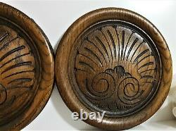 Pair shell decorative carving panel Antique french salvaged applique furniture